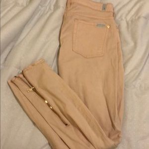 7 for all mankind  light pink with gold accents